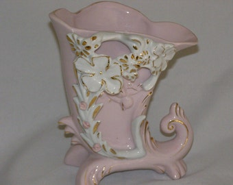 Vintage Pink Horn of Plenty with White Adornment and Pink accent flowers Stands 7""