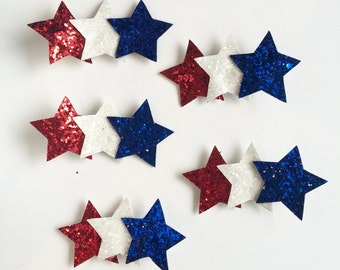 Glitter star clips, Patriotic gliiter stars, star clip, 4th of July clip, red, white and blue stars, Memorial Day, alligator clip