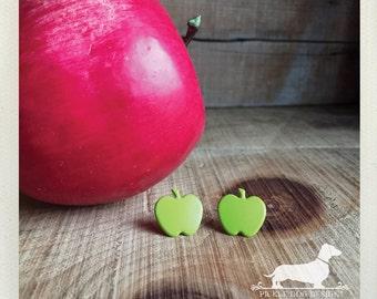 CLEARANCE! Granny Smith. Post Earrings -- (Apple, Summer, Green, Teacher Gift, Apple Studs, Lime Green, Fruit, Green Apple, Gift Under 5)