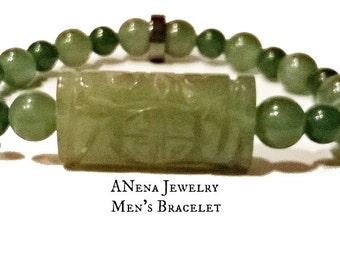 "Men's Bracelet :Aventurine & Hematite ""Spiritually Sound"" By ANena Jewelry"