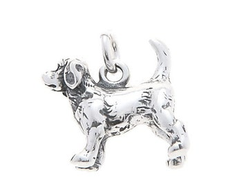 Sterling Silver Beagle Dog Charm (3d charm)