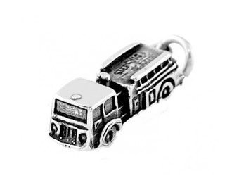 Sterling Silver Small Fire Department Truck Charm (3d, Hollow Bottom Charm)