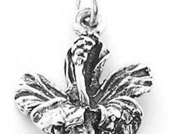Sterling Silver Hibiscus Charm Pendant (One Sided Charm)