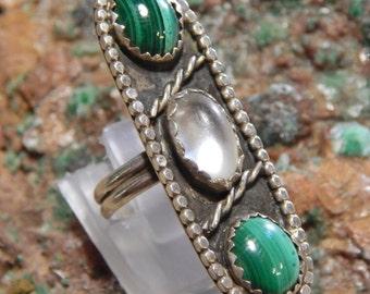 Native American Sterling Malachite Moonstone Ring