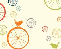 Birch - Just for Fun multi bird bicycle fabric - organic cotton - 1/2 YD