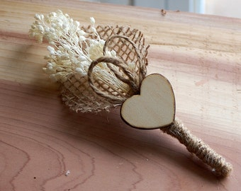 Rustic Wedding Boutonniere with Heart and Baby's Breath