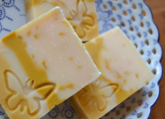 Calendula Soap Lemongrass and Lavender by LavenderBlueHerbals