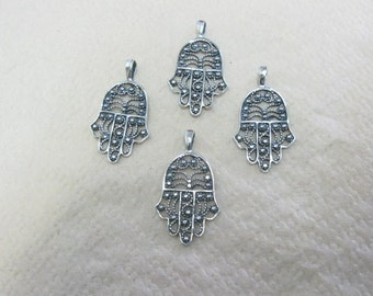 FILIGREE Hamsa silver 925 pendnat , israeli pendnat , judaica hamsa lot of 4pendant, LOT OF hamsa pendant
