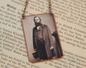 Literature necklace George Perkins Marsh mixed media jewelry literature literary