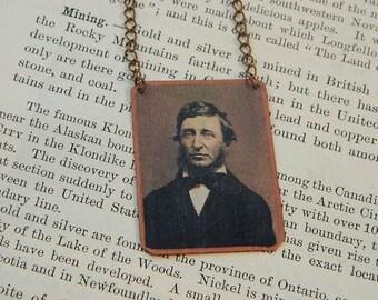 Thoreau necklace Henry David Thoreau mixed media jewelry literature literary