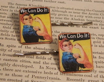Feminist jewelry Bobby Pins Hair Accessory Rosie the Riveter We Can Do It!