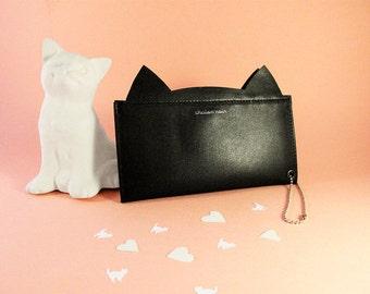 Black Cat Wallet, Womens Black Leather Wallet, Black Wallet, Cute Wallet, Womens Wallet, handmade wallet, Leather Wallet,Genuine Leather.