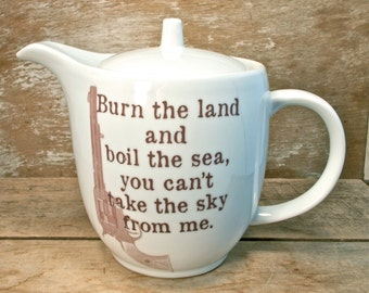 Firefly Serenity Teapot, Theme Song Quote, Porcelain Teapot, Handmade Recycled, Burn the land I'm still free You can't take the sky from me