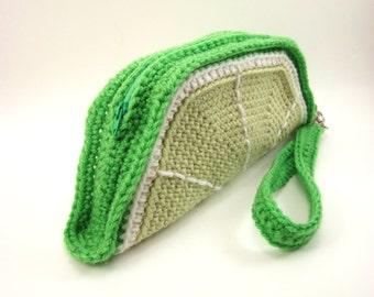 Lime Slice Clutch Purse. Foodie Wrist Bag. Removable Strap. Zipper Closure. Citrus Zest Fruit. Weird Unusual Handbag Amigurumi Kawaii Food