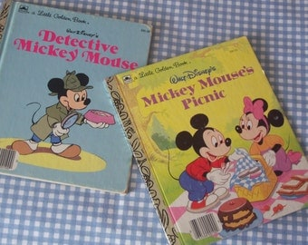 "Vintage Story Books, A Little Golden Books, Walt Disney's ""Mickey Mouse's Picnic"" and ""Detective Mickey Mouse"", Printed In USA, Gift Item"