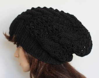Beanie hat.Cable knit hat slouchy women and men. High Heat Cap Original model in braids - Oversized Hat . Knit hat slouchy women and men .