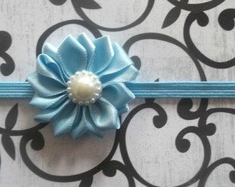 Blue Baby Flower Headband - Small Flower Headband - Baby Photo Prop