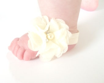 Ivory Baby Barefoot Sandals - Baby Photo Prop