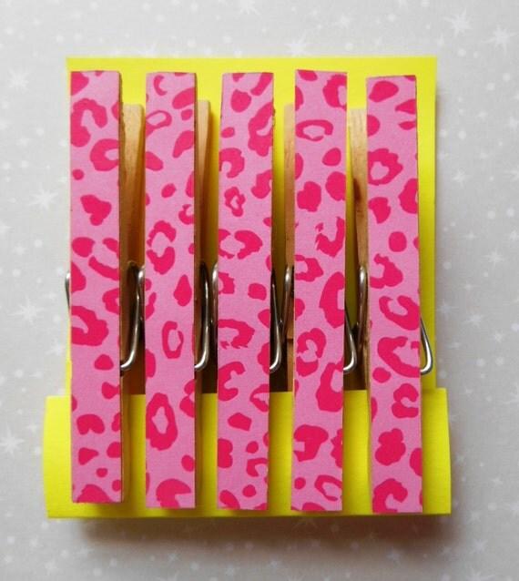 Clothespin Magnets, Set of 5, Hot Pink Cheetah