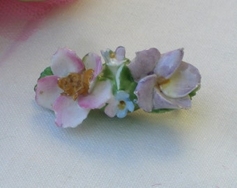 Brooch - Coalport China - Flowers - Vintage