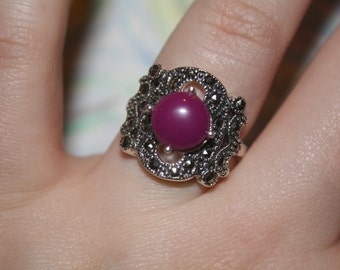 Purple Amethyst Sterling Silver Gemstone Ring Size 7.5 *PRICE REDUCED*