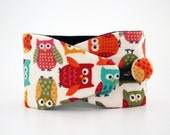 Obi bracelet Owls - japanese fabric 100%cotton- wrap bracelet for women, men and kids