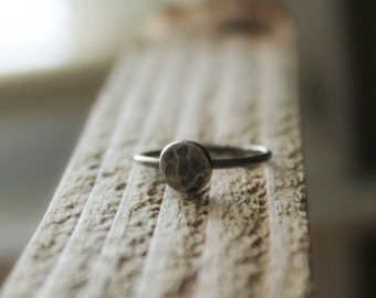 Sterling Silver Hammered Pebble Stacking Ring