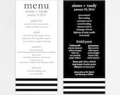 Wedding Menu and Program (Beloved) - Digital Files/DIY (Customizable Stripe Design)