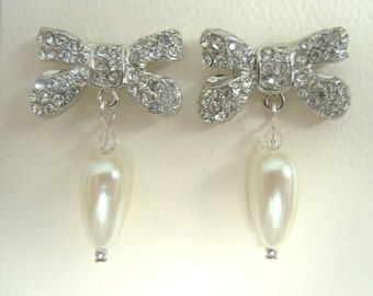 Silver and Crystal Bow With Pearl Drop Pierced Dangle Earrings