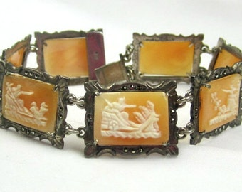 CHRISTMAS Holiday Sale, Cameo Bracelet Sterling Silver Art Deco Bracelet 1920s Vintage Jewelry, Gift for Her
