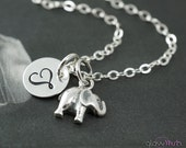 Lucky elephant necklace, personalized necklace, good luck necklace, silver elephant monogram necklace stocking stuffer