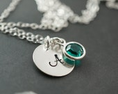 Birthstone necklace, bridesmaids gifts, stamped necklace with swarovski birthstone, green jewelry, spring wedding