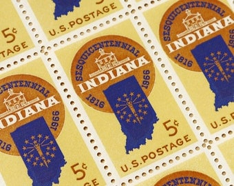 50 pieces - 1966 5 cent Indiana Sesquicentennial - Vintage unused stamps - great for wedding invitations, save the dates