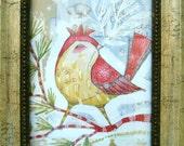 """SALE  Red Bird Fabric Wall Art - Children's Wall Art, Nursery Art, Kids room decor Red Yellow Unframed -- 5""""x 7"""""""