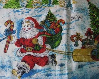 Christmas Fabric Vintage 1950s Polished Cotton
