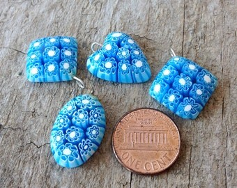 4pcs Sky Blue Millefiori Charms, Glass Charms, Millefiori Pendants, Assorted Shapes, Jewelry Making, Jewelry DIY, Jewelry Supplies