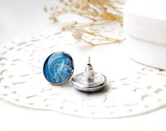 Blue studs earring - sea earring