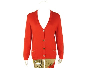CELINE Vintage Orange Red Gold Chain Trim Cardigan