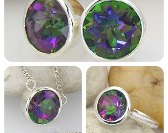 Mystic Topaz Ring, Pendant & Earrings Set. LIMITED EDITION 10mm Round Topaz in Sterling Silver