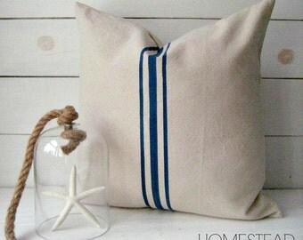 Grainsack Pillow / French Country Pillow /  Rustic Pillow / Navy Pillow / Modern Farmhouse pillow / lakehouse pillow