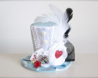 Alice in Wonderland Inspired Mad Hatter Tea Party -  Mini Top Hat Headband - Perfect  First Birthday Photo Prop
