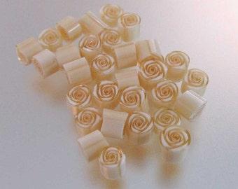 Handmade murrini 104 COE 15 Ivory Rose murrine By Bernadette Fuentes SRA