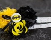 Batman Shabby Chiffon Black Yellow Flower Headband Or Hair Clip Photo Prop Bow Newborn Girls Baby Felt Rose HEART