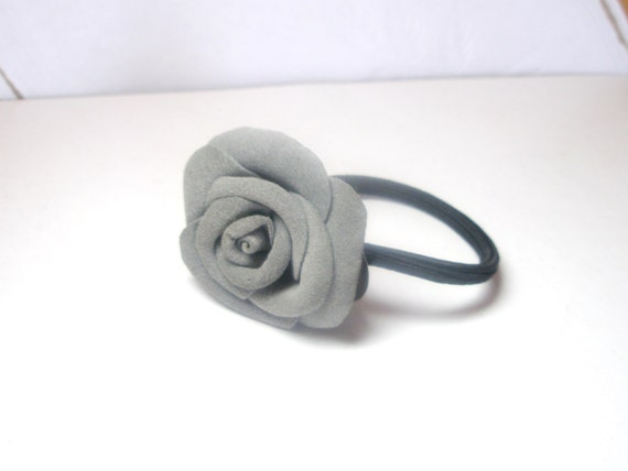 Gray Leather Rose Flower  Ponytail Holder - leather rose shoe clips- flower pin