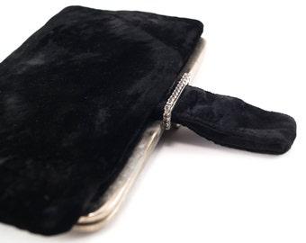 Vintage Black Velvet Rhinestone Clutch 1950s