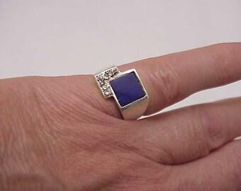 Estate Vintage  10k White Gold  Diamond lapis lazuli  Ring, 1930s