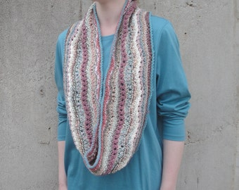Striped Infinity Scarf, Knit Cowl, Long Wrap Scarf, Mixed Multicolors, Elegant Pastel Colors