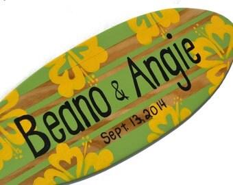Beach Themed Decor, Surfboard Wedding Sign, Custom Anniversary Gift, Couples Gift