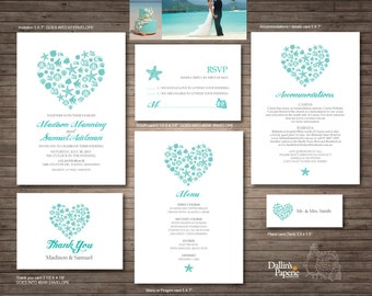 Beach Wedding, Invitation printables, Destination wedding, Heart, Customized DIY wedding, starfish, turquoise, sea shell