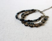 Layered Bracelet, Black Charm Bracelet, Czech Glass Bracelet, Choose Your Preferred Color